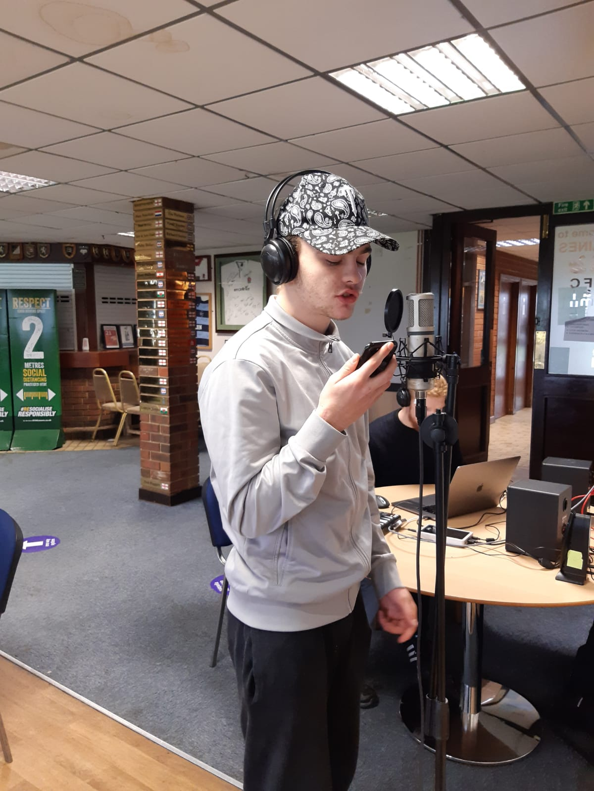 Alex recording with Finding Rhythms